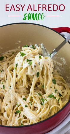 Quick and easy creamy, cheesy Alfredo with cream cheese, Parmesan cheese, butter, milk and seasonings.