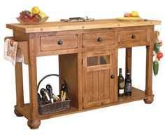 Durable Sedona Rustic Oak Kitchen Island With Three Drawers Side Towel Bar Middle Cabinet Door Two End Shelving Using Oil Rubbed Bronze Pull Knobs Table ...