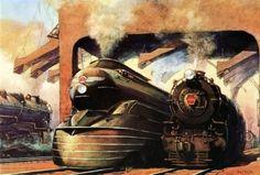 Two steam locomotives at 46th Street engine terminal, Philadelphia.  Grif Teller, 1937.