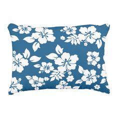 illustrated Hibiscus Flowers Decorative Pillow