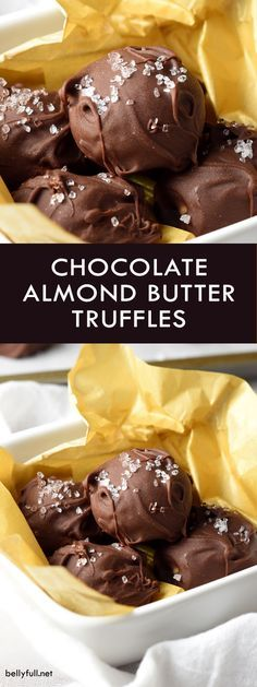 Rich and creamy homemade chocolate truffles made with almond butter and a hint of sea salt for a perfect balance of flavors!Rich and creamy homemade chocolate truffles made with almond butter and a hint of sea salt for a perfect balance of flavors! Köstliche Desserts, Chocolate Desserts, Delicious Desserts, Dessert Recipes, Chocolate Truffles, Chocolate Brownies, Chocolate Muffins, Homemade Truffles, Homemade Candies