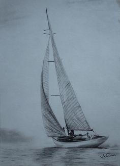 Sailing yacht, graphite drawing, pencil drawing by Elena Whitman Pencil Art, Pencil Drawings, Sailboat Drawing, Charcoal Art, Graphite Drawings, Graphite Art, Drawing Projects, Drawing Ideas, Art Original