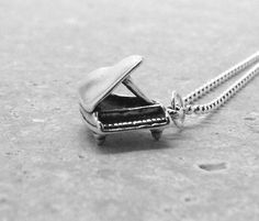 Piano Necklace Sterling Silver by GirlBurkeStudios on Etsy, $32.00