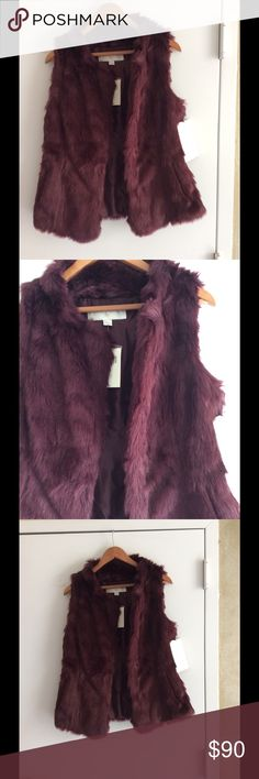 Cozy Faux Fur Vest Super soft  shimmery vest. Fully lined with hook eye closure. Modacrylic /acrylic . Dry clean. Bordeaux color. Size small 6-8 . Boston Proper Jackets & Coats Vests