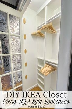 A step-by-step tutorial and budget breakdown for using IKEA Billy bookcases to customize his & her closets in a master bedroom. Ikea Closet Hack, Closet Hacks, Closet Organization, Closet Ideas, Ikea Closet System, Ikea Wardrobe Hack, Closet Makeovers, Organizing, Clothing Organization