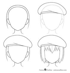 Drawing Hats, Drawing Anime Bodies, Cap Drawing, Anime Character Drawing, Anime Hair Drawing, How To Draw Anime Hair, Anime Drawings Sketches, Anime Sketch, Easy Drawings