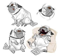 Enjoy a new collection of references for Character Design: Dogs. The collection contains illustrations, sketches, model sheets and tutorials… This gallery Cute Animal Illustration, Illustration Sketches, Illustrations, Character Illustration, Animal Sketches, Animal Drawings, Animal Design, Dog Design, Pugs