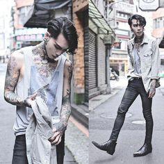Custom street cred all over tattoo style designs Fashion Moda, Boy Fashion, Fashion Art, Mens Fashion, Fashion Outfits, Fashion Design, Alternative Mode, Alternative Fashion, Korean Fashion Men