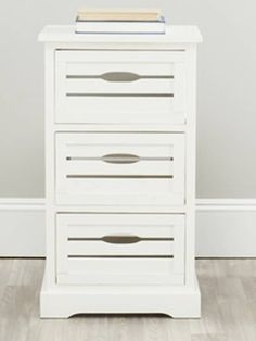 3-Drawer File Cabinet Wood Rustic Pine White Finish Country Shabby Chic Drawers
