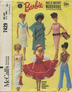 "Vintage Barbie™ Doll Clothes Sewing Pattern | Official Mattel Barbie® Doll's Instant Wardrobe also fits Miss Barbie® and Midge™ | McCall's 7429 | Year 1964 | One Size - 11½"" Doll"