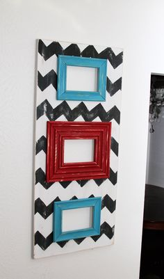 Handmade Distressed Black and White Chevron with Red and Turquoise Trim 3  5X7 Opening Wood Frame. $75.00, via Etsy.
