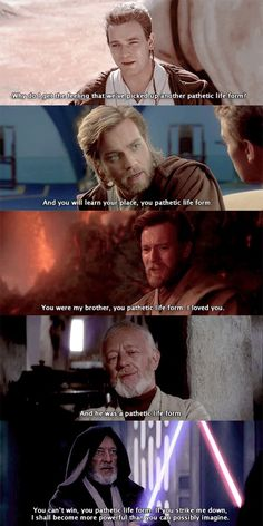 "AU where everything is the same except that Obi-Wan never stopped calling Anakin a ""pathetic life form""."