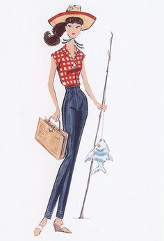 """Gone Fishin' Vintage Repro""  ~~  Fashion Illustration by ~Robert Best~ [Posted by MyLifeInPlastic.com - March 102009]'h4d'120922"