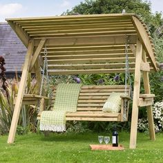 Zest 4 Leisure Miami Wooden Garden Swing Seat Bench with Roof Canopy for sale online Wooden Garden Swing, Garden Swing Seat, Yard Swing, Wooden Swings, Garden Chairs, Garden Furniture, Bench Furniture, Garden Seats, Garden Benches