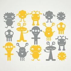 Alien Wall Decals Outer Space Martians Baby by graphicspaces,