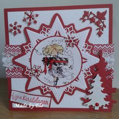 Kerstkaart in wit en rood 3d Cards, Pop Up Cards, Xmas Cards, Christmas Card Crafts, Christmas Greetings, Christmas Decorations, Embossed Cards, Marianne Design, Sympathy Cards