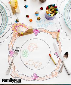 Coloring-Book Tablecloth: Turn the Thanksgiving table into a giant art canvas to get kids -- and grown-ups -- happily doodling. Cans from the dinner preparations, cleaned and dried, make handy holders for crayons and colored pencils.