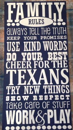 Houston Texans Family Rules by Etchale on Etsy Bulls On Parade, Houston Texans Football, Houston Astros, Family Rules, Good Cheer, Down South, Houston Rockets, Kind Words, Texas