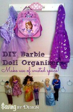 Got dolls? Take a look at this DIY Barbie Doll Organizer {It's cheap  easy!} to get them off the floor! |SavingByDesign.com