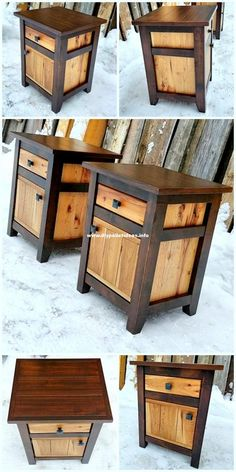 30 + Inspiring DIY Pallet Wood Homemade Furniture Plans - diypalletideasAttractive wooden pallets side table plansPlans & instructions for DIY furniture: Some more seats made of old solid wood… - Wood DIY ideasPlans & instructions Wooden Pallet Projects, Wooden Pallet Furniture, Diy Furniture Plans, Woodworking Projects Diy, Furniture Projects, Rustic Furniture, Wood Pallets, Pallet Wood, Diy Furniture Nightstand