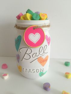 Valentines Day Mason Jars. Conversation Hearts Mason Jar.