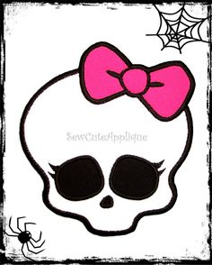 MH Girl Skull No Sew Applique Patch by SewCuteApplique on Etsy