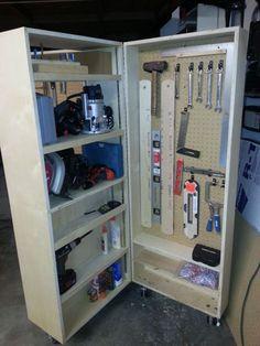 Garage Workshop Organization, Diy Garage Storage, Workshop Storage, Diy Workshop, Tool Storage, Workshop Design, Unique Man Cave Ideas, Tool Box Diy, Mobile Workshop