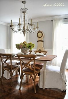Our Dining Room - Making Progress by Dear Lillie.that chandy Dining Room Walls, Dining Area, Kitchen Dining, Cottage Kitchens, Home Kitchens, French Country Dining, Dear Lillie, Beautiful Dining Rooms, Dining Room Inspiration