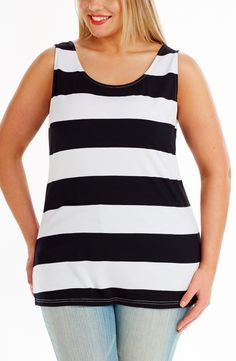 Wide Stripe Tank Top black/white Style No: T1412 Cotton Elastane striped long line Top. This sleeveless top has a scoop neckline . #dreamdiva $plussize #2013