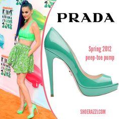 Katy Perry wore Prada neon green peep-toe platform pumps to the 2012 Kids Choice Awards. continue reading →