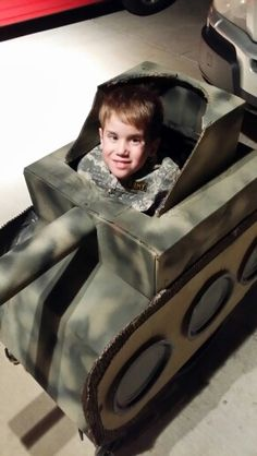 My boys army tank Halloween costume.  He is in a wheelchair!  He loves it.