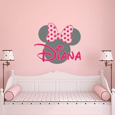 Name Wall Decal Minnie Mouse Decals Nursery S Bedroom Decor