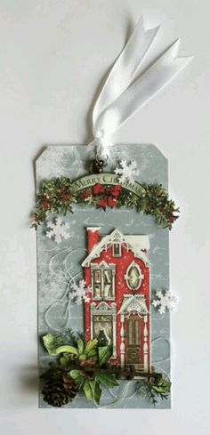 Very cute Christmas tag. Christmas Paper Crafts, Noel Christmas, Christmas Gift Tags, Xmas Cards, Christmas Projects, All Things Christmas, Handmade Christmas, Holiday Crafts, Stampin Up