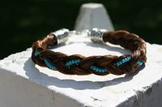 Horse Hair Bracelet with Seed Beads by DanellesDesigns on Etsy Horse Hair Bracelet, Horse Hair Jewelry, Hair Jewellery, Beaded Bracelet Patterns, Beading Patterns, Beaded Jewelry, Horse Crafts, Barn Crafts, Horse Hair Braiding