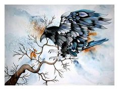 """Maria Inhoven, """"Magic of the Raven"""" (60) With a click on """"Send as art card"""", you can send this art work to your friends - for free!"""
