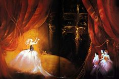 Anne Bachelier - Original Oil on Paper Illustration from Phantom of the Opera - Christine's Debut