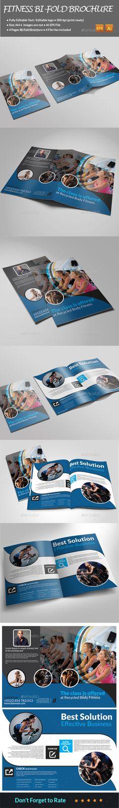 Fitness Bi-Fold Brochure VEctor EPS, AI Template #design Download: http://graphicriver.net/item/fitness-bifold-brochure-/13906442?ref=ksioks