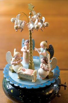 Blue and White Nativity Music Box. I have a music box just like this. Bought it in Germany 30 years ago.
