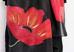 Red Poppies Hand Painted Silk Scarf for Ladies. by TiiuHandCraft