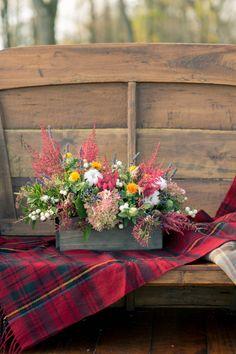 colorful fall floral arrangement