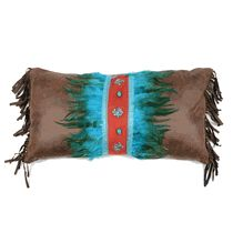 Sonoran Sky Turquoise Feather & Diamonds Pillow