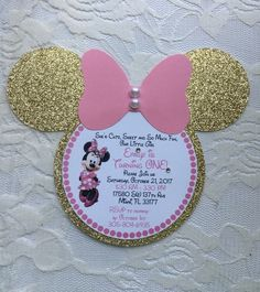 Minnie Mouse Invitation- Minnie Mouse Birthday Invitation- Minnie Mouse Head Invitation- Pink and Gold Minnie Mouse Invitation Minnie Mouse Birthday Decorations, Minnie Mouse Theme Party, Minnie Mouse Birthday Invitations, Minnie Mouse First Birthday, Minnie Mouse Baby Shower, Minnie Mouse Pink, Pink Invitations, Mouse Parties, Invitation Birthday