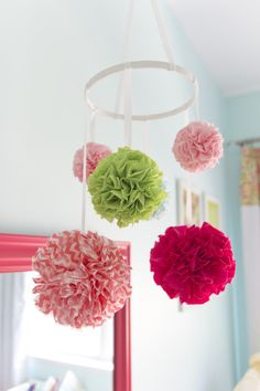 Aqua, Pink and Green Pouf Mobile