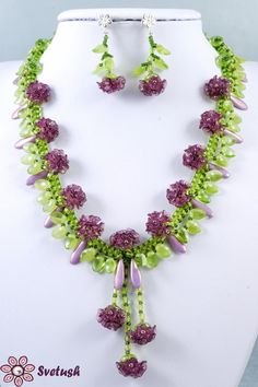 Tutorial Beadweaving Summer Flowers Set, Necklace and Earrings Glass Czech Beads, PDF Beading  Patern