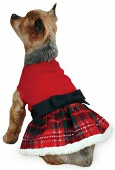 Party Dress for Dogs - Yuletide Tartan Party Dress for Dog in Small/Medium Size Red Dog Dress - $16.99
