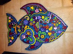 Wooden painted fish by TheBlueSeahorse on Etsy, $50.00