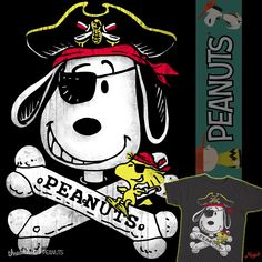 Cool Pirate logo featuring Snoopy and Woodstock. Thinking dog biscuits as crossbones and woodstock as Snoopy's parrot-like sidekick. 3 Textured colors on black or asphalt. Arrrr!