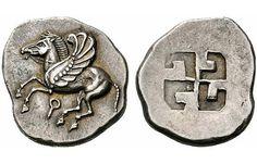 Pegsus and Swastika, Silver Stater of Corinth c. 550-500 BC