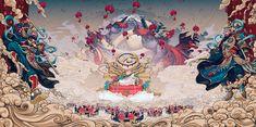 Illustrations of the New on Behance Japanese Tattoo Art, Japanese Art, I Phone 7 Wallpaper, Chinese Design, Chinese Style, Chinese Mythology, Lion Art, Japanese Aesthetic, Graffiti Art