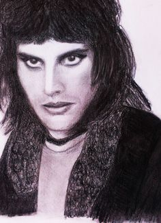 Freddie Mercury (Queen) pencil drawing (portrait) by Gabriella Tóth